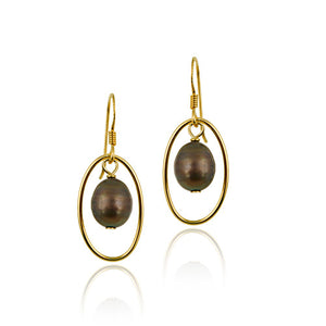 18k Gold Coated Cultured Gold Pearl Dangle Earrings
