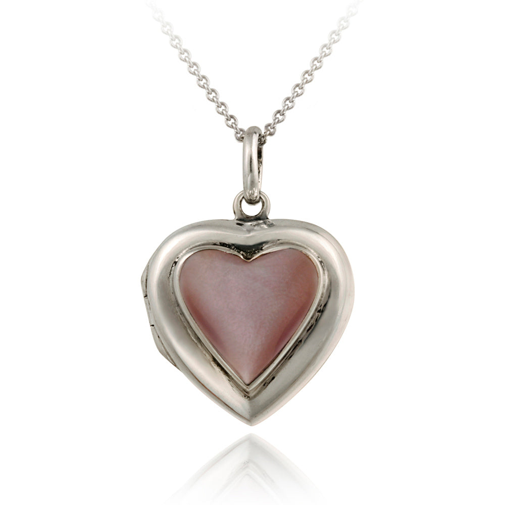 Pink Heart Shell Silver Locket Pendant
