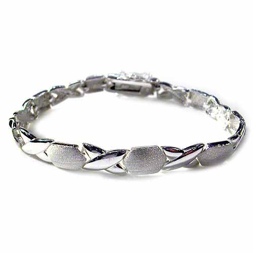 Polished Satin X Oval Silver Bracelet