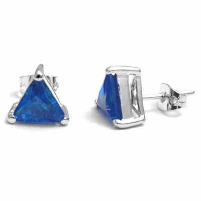 Large Blue Simulated Tanzanite Cz Triangle Studs Silver Earrings