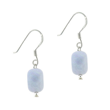 Sterling Silver .925 Genuine Lace Agate Strone Nugget Bead Dangle Earrings