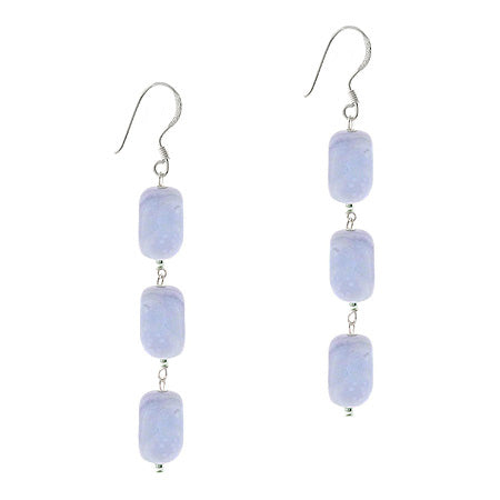 Sterling Silver .925 Genuine Lace Agate 3 Stone Nugget Dangle Bead Earrings