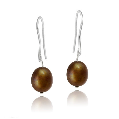 Stainless Steel Baroque Freshwater Cultured Champagne Pearl Dangle Earrings
