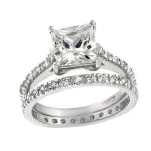 Square Bridal Engagement Silver Ring Set