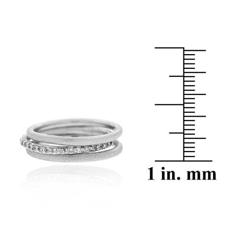 Satin Brushed Stackable Silver Rings