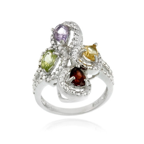 Multi Gemstone Diamond Accent Cocktail Rings