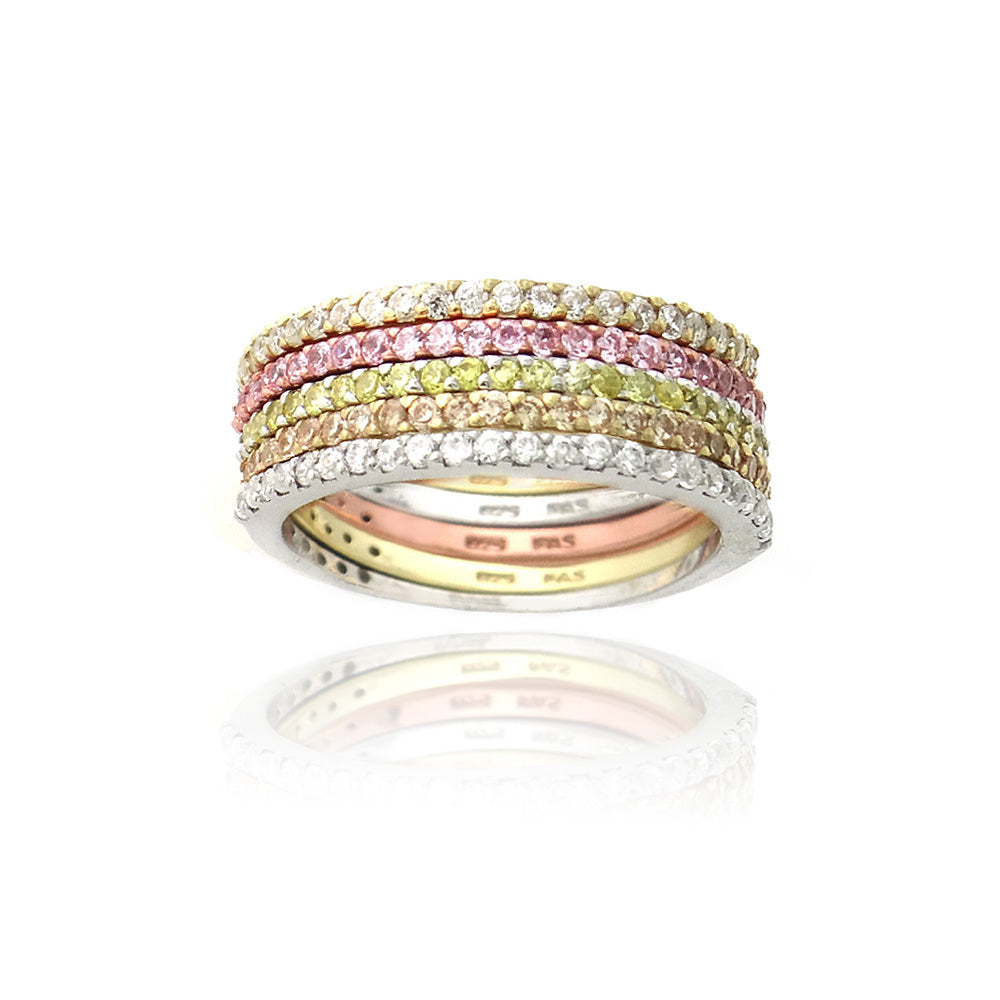 Multi-color Half-eternity Band Rings (Size 9)
