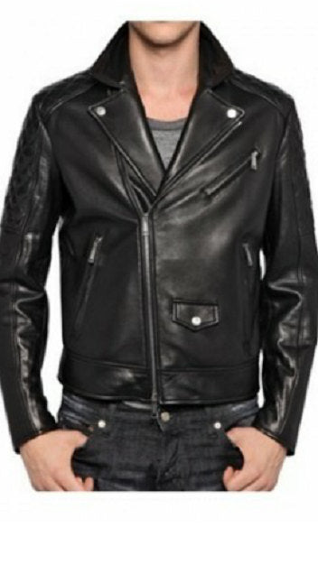 Black Lamb Nappa Leather Quilted Sleeves Biker Jacket