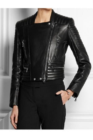 Black Soft Nappa Ladies Leather Jacket