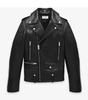 Black Lamb Nappa Leather Men's Biker Jacket