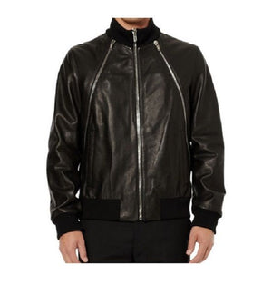 Black Lamb Nappa Bomber Leather Men's Jacket
