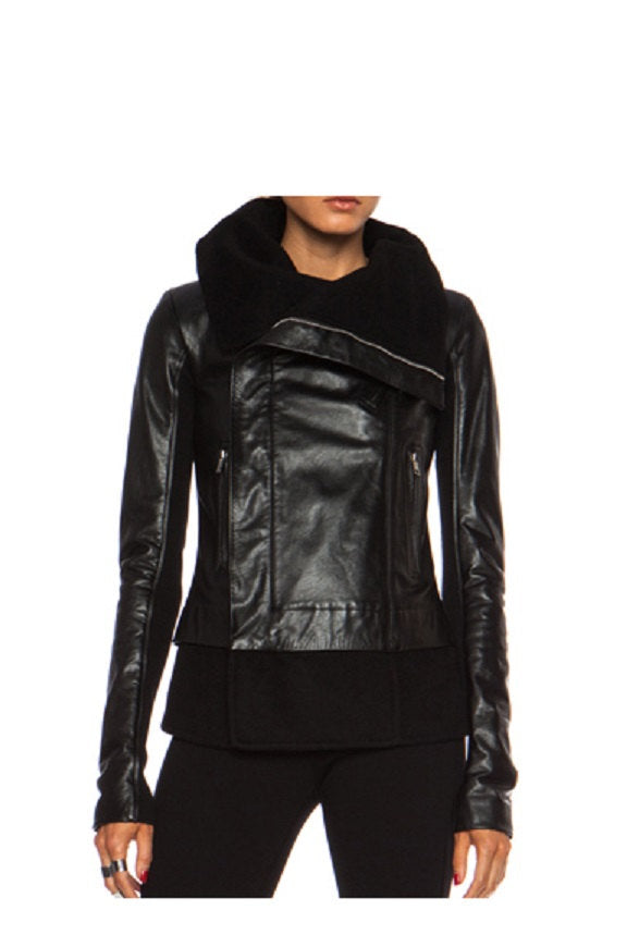 Black Lamb Nappa Leather Asymmetric Ladies Jacket