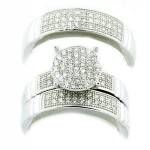 3pc His & Her Silver Rings Trio Wedding Set