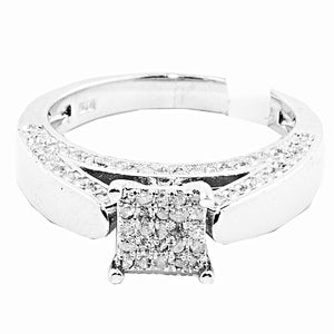 Diamond Bridal Engagement Square Top Vintage Ring