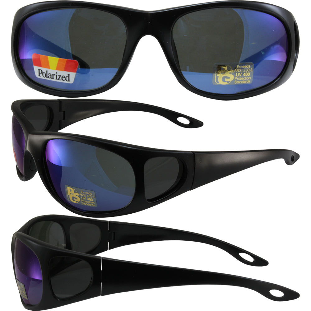 Pacific Coast Sunglasses Strike Sunglasses Matte Black Frames Polarized Blue Flash Mirror Lenses