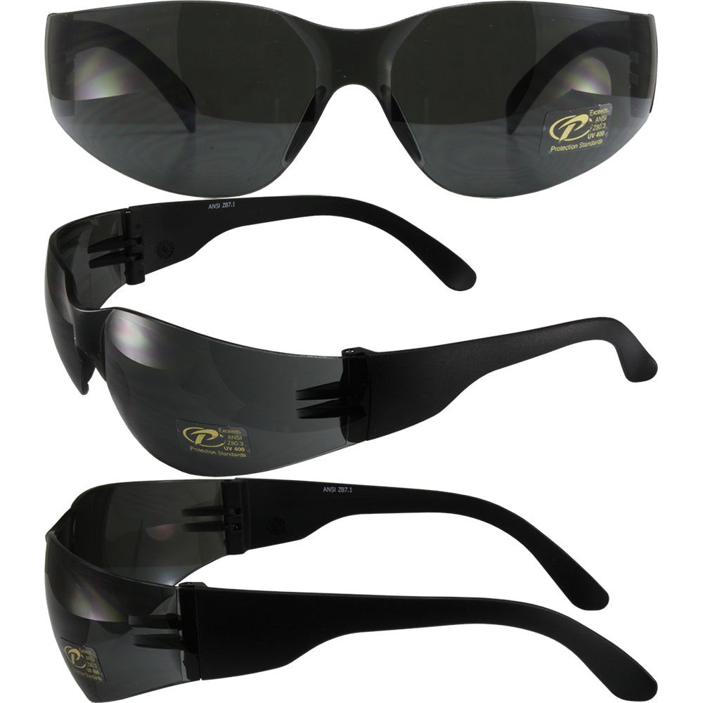 Pacific Coast Sunglasses Mask Safety Matte Black Frames One-piece Smoke Lens