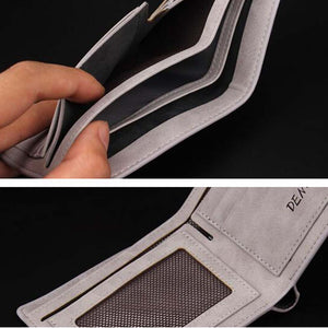 Grey Pu Leather Denim Flipout Mens Wallet