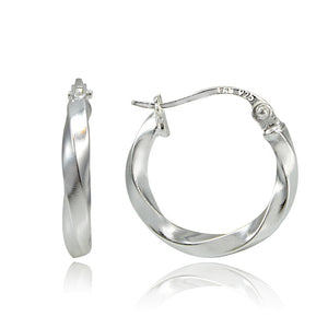 15mm Round Hoop Twist Silver Earrings