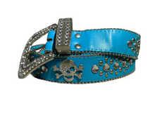 Blue Small Skull Design Ladies Leather Belt