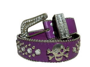 Purple Small Skull Ladies Leather Belt