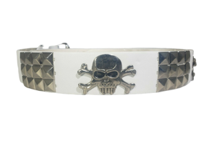 White Large Skull Studded Metal Belt