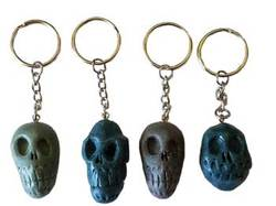 "1 1/2"" Assorted Colors Resin Skull Key Ring"