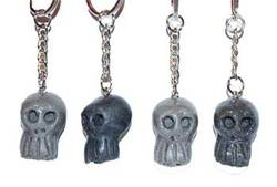 "1"" Assorted Colors Resin Skull Key Ring"
