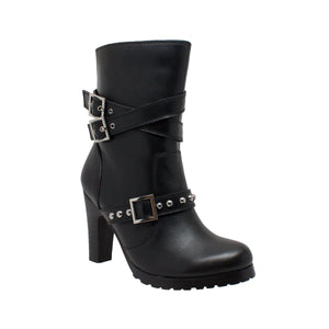 "Black 10"" Women's Three Buckle Boot"