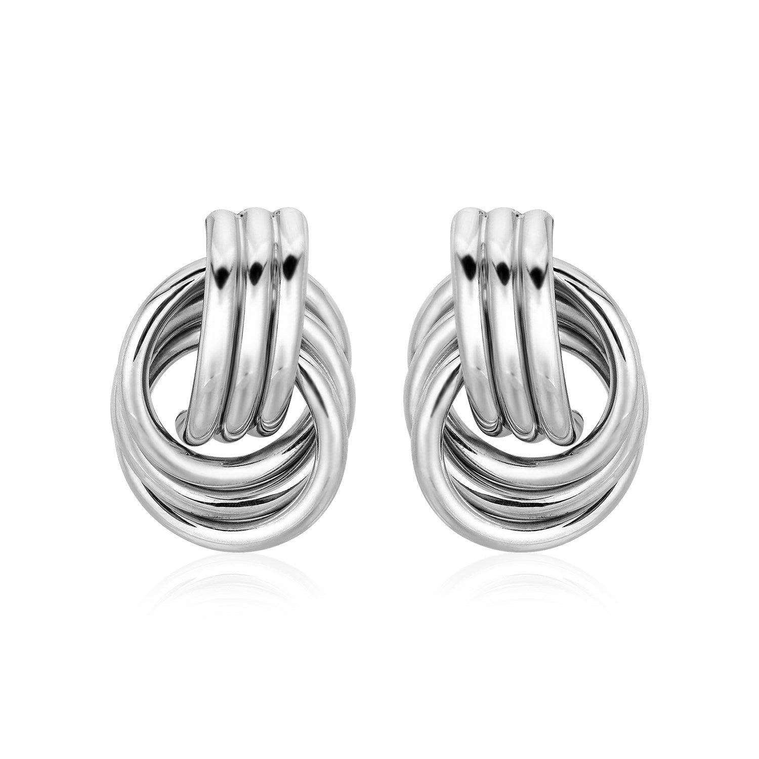 Polished Love Knot Interlocking Rings Earrings