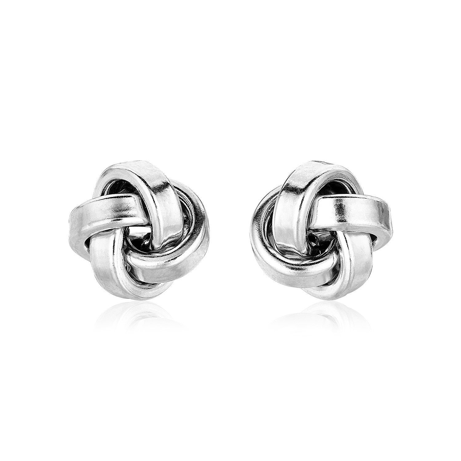 Polished Love Knot Silver Earrings