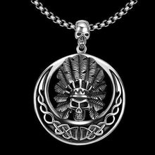 Steel Angry Chief Skull Pendant Necklace