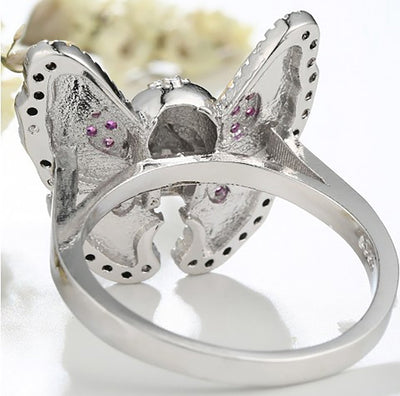 Butterfly-Ladies Sull Engagement Ring-Rear Tone