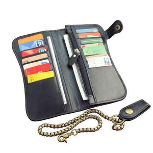 Classic Leather Biker Wallet with Chain