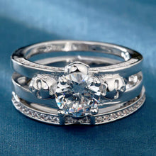 Two Ring Classic Skull Engagement Band Set