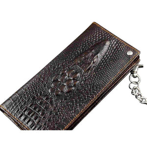 Crocodile Head Leather Biker's Wallet