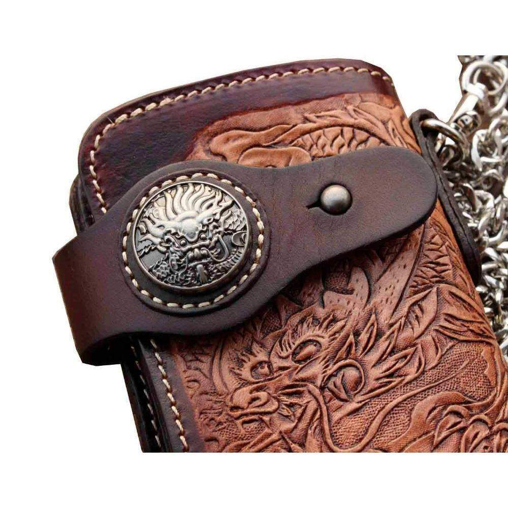 Dragon Skull Leather Biker's Wallet