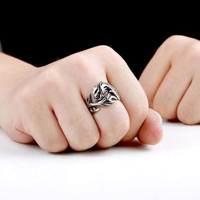 Dragon Tail-Mens Skull Biker Ring-Rear Tone