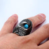 Eagle Stone-Mens Skull Biker Ring-Rear Tone