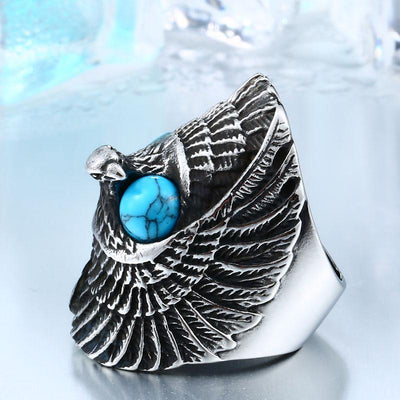 Eagle Stone-Mens Skull Biker Ring-7-Rear Tone