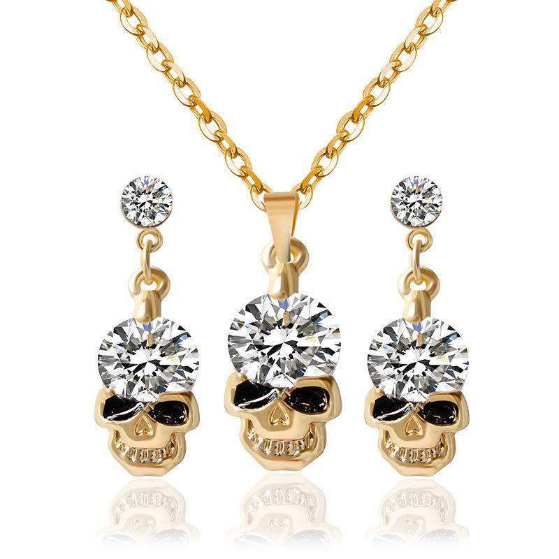 Skulls & Crystal Earrings & Pendant Set