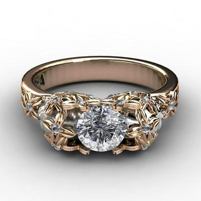 Floral-Ladies Sull Engagement Ring-Rear Tone