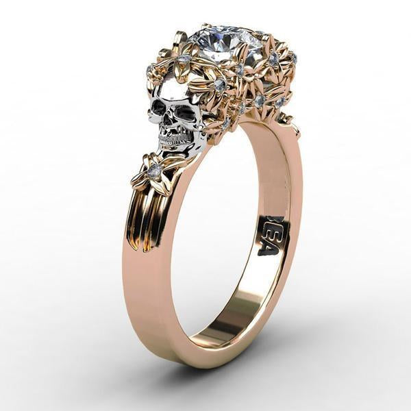 Floral-Ladies Sull Engagement Ring-5-Rear Tone