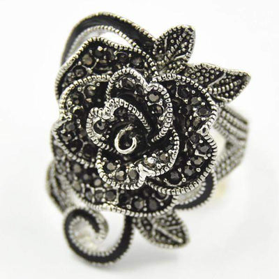 Gothic Black Rose Rings