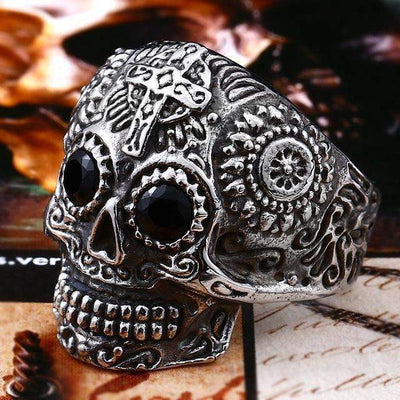 Gothic Carved-Mens Skull Biker Ring-7-Stainless Black-Rear Tone