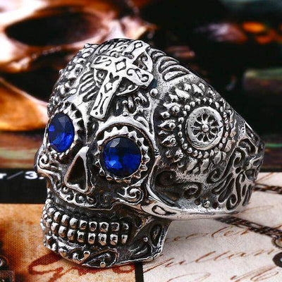 Gothic Carved-Mens Skull Biker Ring-7-Stainless Blue-Rear Tone