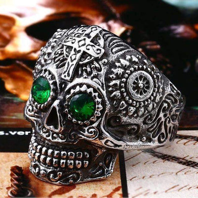 Gothic Carved-Mens Skull Biker Ring-7-Stainless Green-Rear Tone
