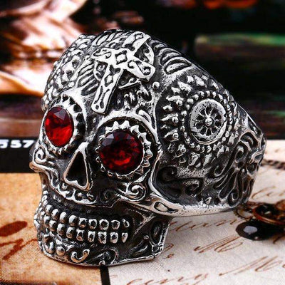 Gothic Carved-Mens Skull Biker Ring-7-Stainless Red-Rear Tone