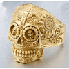 Gothic Carved-Mens Skull Biker Ring-8-All Gold-Rear Tone
