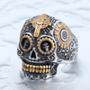 Gothic Carved-Mens Skull Biker Ring-8-Part Gold-Rear Tone
