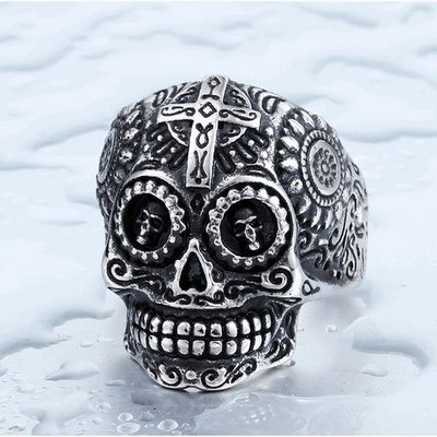 Gothic Carved-Mens Skull Biker Ring-8-Stainless-Rear Tone